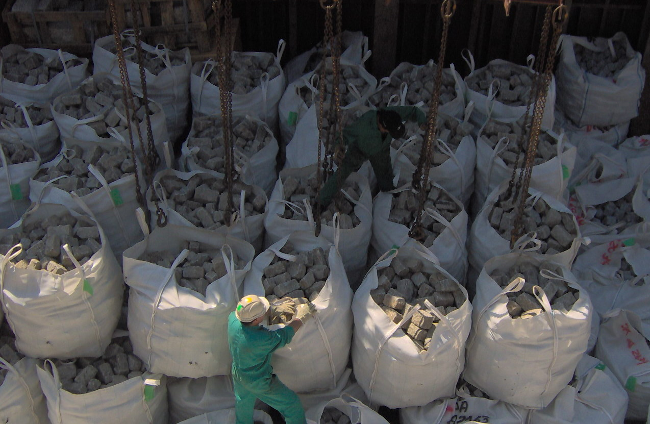 Granite paving stones in bags